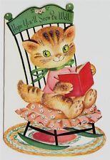 Vintage Glittered Little Striped Cat in Rocker Greeting Card