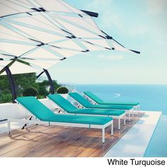 Modway Shore Set of 4 Outdoor Patio Aluminum Chaise with Cushions (White Turquoise), Beige Off-White, Patio Furniture
