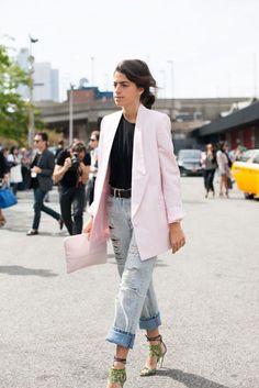 Men Repeller's Leandra Medine stree style inspiration - pink blazer and boyfriend jeans.