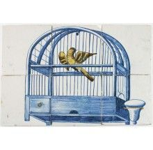 Antique Dutch Delft tile mural depicting a bird cage in blue with a canary, century Pet Cage, Bird Cage, Delft Tiles, Antique Tiles, House Tiles, Tile Murals, Hanging Chair, 18th Century, Illustration Art