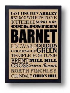 Barnet London Finchley Golders Green Hendon by indieprints on Etsy, $15.00