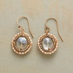 "NOUVEAU CAMEO EARRINGS -- Shimmering mystic quartz framed with delicate freshwater pearls. 14kt goldfilled wires. USA. 1-1/8""L."