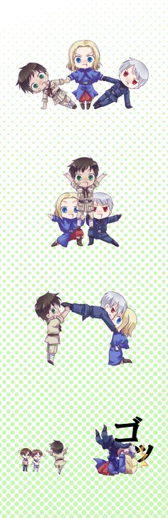 BTT France Spain Prussia Hetalia (for some reason these guys remind me of Ashley{Spain], Celeste{France], and I{Prussia])