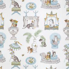 Cat Fabric Novelty Fabric Upholstery Fabric Print by RoomKandi Girl Wallpaper, Pattern Wallpaper, Greenhouse Fabrics, Novelty Fabric, Cat Fabric, Robins Egg, Fabric Patterns, Fabric Design, Printing On Fabric