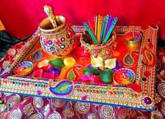 Mehndi Plates Images : Another multi coloured double tiered oil and mehndi plate