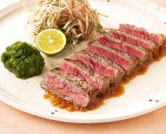アメリカン・ビーフ サーロインの和風ステーキおろしきゅうり添え