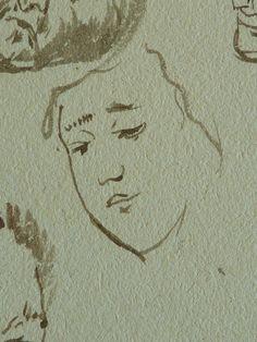 """DELACROIX Eugène,1824-25 (d'Après GOYA) - Les Caprices, Têtes et Eléphant (drawing, dessin, disegno-Louvre RF10603) - Detail 95   -   TAGS / personnage figure figures people personnes painter peintre peintre details détail détails detalles """"dessins 19e"""" """"19th-century drawing"""" """"19th century"""" croquis étude study sketch sketches Lavis Wash """"Francesco Goya"""" """"after Goya"""" animal éléphant whim caprices whims woman women femme femmes tête head visage face portrait model """"Feuille d'études"""" freak…"""