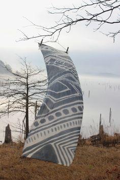 hand painted grey silk scarf