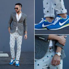 Lacoste Shirt, Topman Blazer, Urban Outfitters Trousers, Nike Sneakers, Daniel Wellington Watch, Ray Ban Sunglasses