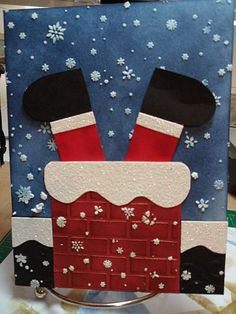 Darice brick embossing folder, cut the glitter paper for the snow on chimney and roof, and used Memory Box tiny snowflake stencil with Dreamweaver's stencil embossing paste.
