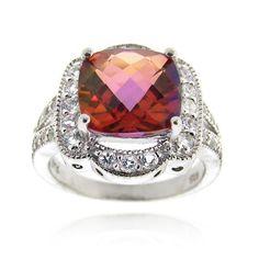 Glitzy Rocks Sterling Silver 5 CTW Genuine Pink Salmon Quartz Ring