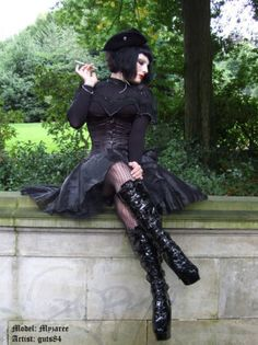 goth gal smoking? Really? Actually pretty rare today since most Goth Girls take very good care of their internals!