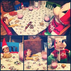 Thomas the Elf thought it would be a good idea to colour the milk red and have milk and cookies with Woody and Mickey.