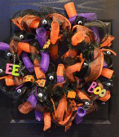 Halloween Deco Mesh Wreath Has Eyes by WelcomeHomeWreath on Etsy