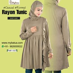 Most pleasing and graceful wear for casual and formal occassions-Trendy Khaki Rayon Tunic. Fashion Wear, Modest Fashion, Hijab Fashion, Modest Dresses, Modest Outfits, Modest Clothing, Womens Fashion Online, Latest Fashion For Women, Tunics Online