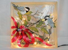 Glass Block Light-Chickadees and Red Ribbon- Night Light Lamp