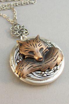 Little Red Fox Medaillon Fox Fox Locket Fox-Halskette