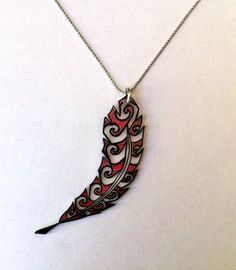 Feather Maori Style Pendant #PunkTrunk #Jewelry #Jewelries #Punk #Necklace #Pendant #Fashion #Girls #Unique #DIY #Feather #Crafts #Art #Design #ShrinkPlastic