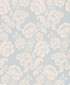 St Germain Duck Egg (3453163) - Laura Ashley Wallpapers - A beautifully elegant floral trail in a shimmering pearly cream on a stunning duck-egg blue background, printed with pearlescent inks. Additional colourways also available. Please request a sample for true colour match.