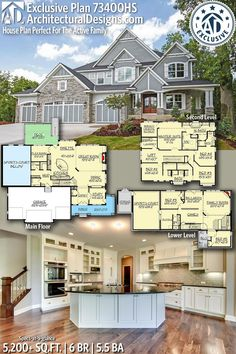 Plan House Plan Perfect For The Active Family Architectural Designs Exclusive Home Plan gives you 6 bedrooms, Sims House Plans, Dream House Plans, House Floor Plans, Dream Houses, Layouts Casa, House Layouts, Future House, 6 Bedroom House Plans, House Blueprints