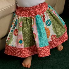 Twirly Skirt Pattern - good for using up scraps when you don't have any large pieces of fabric left.