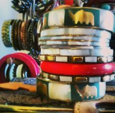 Hand stack collection #indianaccessories #elephant #red