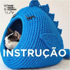 "Pattern / Crochet cat bad ""Whale for cat"" PDF tutorial with photo and pattern/ Crochet pattern/ DIY/Crochet tutorial Gato Crochet, Diy Crochet, Crochet Hooks, Crochet Motifs, Crochet Patterns, Cat Cave Crochet Pattern, Diy Cat Tower, Cat Castle, Big Yarn"