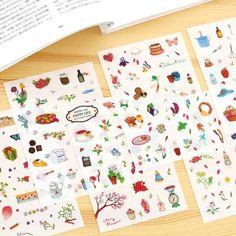 6 pcs/pack Happy Garden Life Decorative Stickers Adhesive Stickers DIY Decoration Diary Stickers