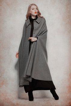 Grey Wool Coat, Maxi wool coat jacket, casumere cape, wool cloak, Single breasted coat jacket, wool jacket, grey jacket, oversize jacket by camelliatune on Etsy https://www.etsy.com/listing/246339460/grey-wool-coat-maxi-wool-coat-jacket