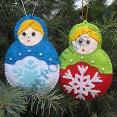 "Christmas decorations, felt New Year. Набор вырубки из фетра ""Матрешка"""