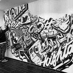 Murals Street Art, Graffiti Wall Art, Graffiti Lettering, Mural Wall Art, Doodle Wall, Office Mural, Wall Drawing, Found Art, Arte Pop