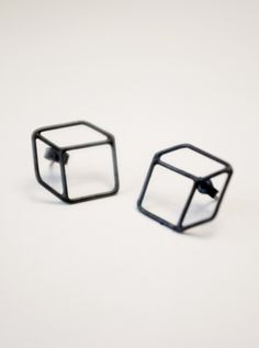 MARIOS silver cube 3-d earrings