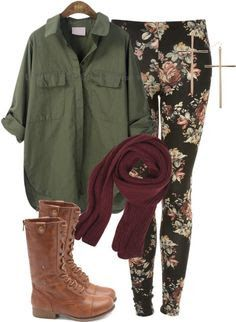Floral leggings with army green top