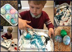 I have put together two FUN ways for egg coloring. Have no fear they include minimal mess and both use safe ingredients for the little ones.