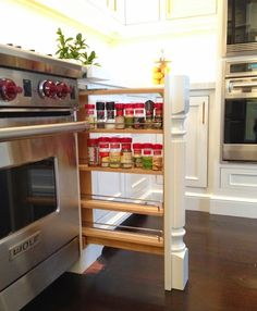 One Room Challenge: Week Six built in spice rack right where you need it