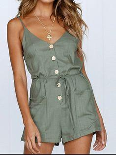 d998238ec22 Army Green Cotton Spaghetti Strap V-neck Chic Women Romper Playsuit - Choies .com