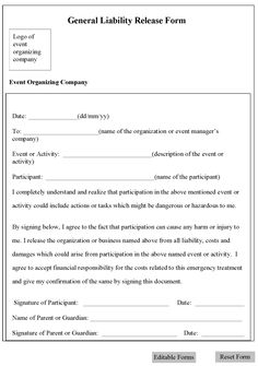General Liability Waiver Form   Liability Release Form Template  Liability Waiver Form