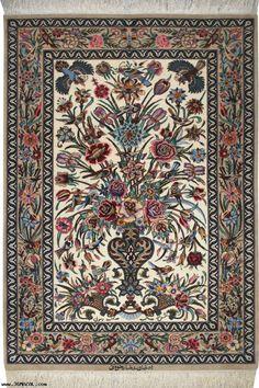 FLOWERS` BEDSIDE RUG - luxury carpet Esfahan by 36 Mazal