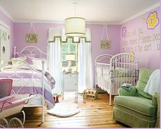 LILY ROOM COLOR = love. Also roman curtain and upholstered chair. Baby girls bedroom with lilac color