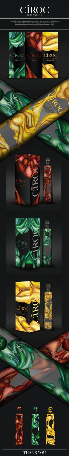 Cîroc Vodka rebanding (concept) by Chanell Wellington. Source: Behance. #SFields99 #packaging #design #inspiration #ideas #product #branding #vodka #alcoholic #beverages