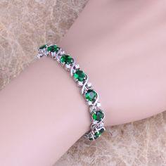 New Green imitation Emerald Cubic Zirconia 925 Stamp Silver Plated Bracelets Hidden-safety-clasp Link Bracelet 21.5 CM S0264