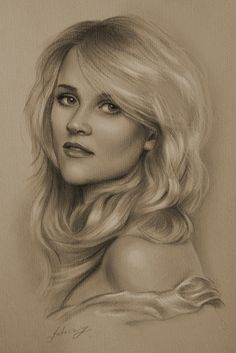 Pencil Portrait Mastery - Celebrity Pencil Portraits - Reese Witherspoon - Discover The Secrets Of Drawing Realistic Pencil Portraits Realistic Pencil Drawings, Graphite Drawings, Amazing Drawings, Art Drawings, Realistic Sketch, Horse Drawings, Drawing Art, Portrait Au Crayon, Pencil Portrait
