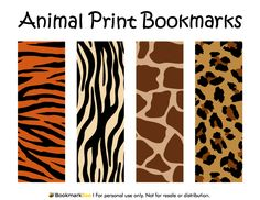 Free printable animal print bookmarks in PDF format. The template includes four different bookmark designs per page.