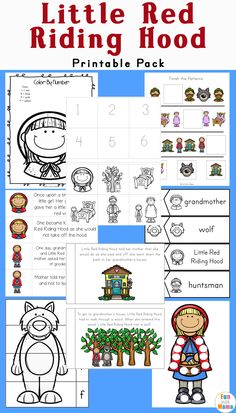 This free Little Red Riding Hood Printable Pack is filled with fun worksheets, clip cards and activities that are suitable for young children in preschool and kindergarten.  via @funwithmama