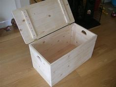 """""""I made this simple storage box for my baby's toys. It's an easy one day project and you can improve or add your own design to it."""""""