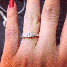 Three-Stone Ring with Small Side Accents in the Band