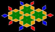 Kolangal: 5 - 10 Dots - 1 interlaced dots (Idukku Pulli) Kolam - Start with 8 dots in the center and stop at 1 by putting interlaced dots at both sides. New Rangoli Designs, First Art, Painted Floors, Dots, Aqua, Painting, Beads, Stitches, Beading
