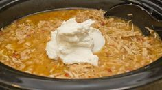 Trim Healthy Mama Crock Pot white chicken chili from thecoersfamily.com #THM #E #Crockpot