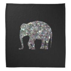 Sparkly colourful silver mosaic Elephant on Black Bandana by #PLdesign #SilverMosaic #ElephantGift