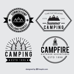 Summer camp badges in black and white Free Vector